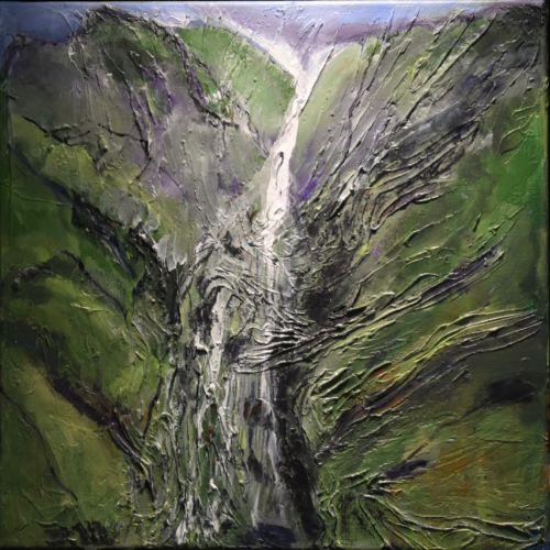 Hana Waterfall 12X12 Mixed Media