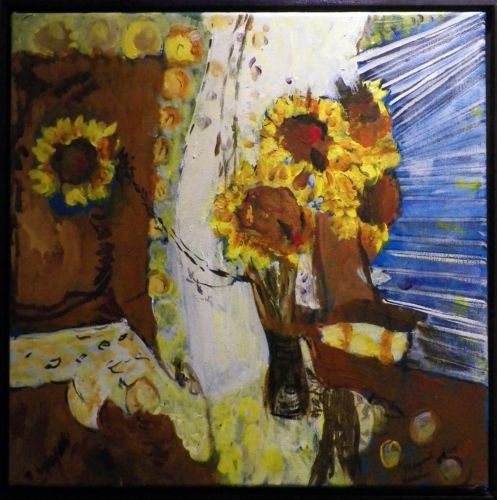 Sunflowers 18X18 Mixed Media