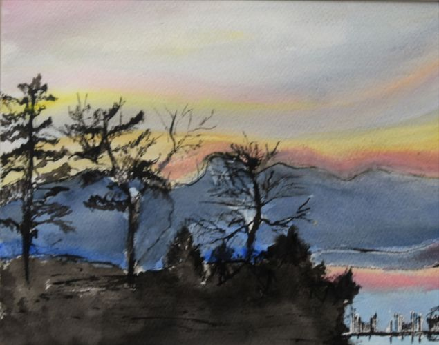 Sunrise on Lake George 11X14 India Ink, Acrylic and Watercolor